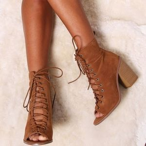 Avanti brown suede peep toe ankle booties